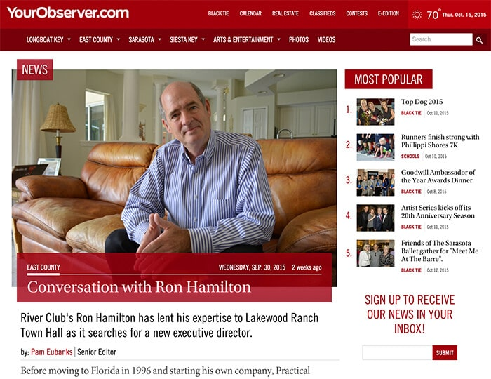 Sarasota Observer Interview with Ron Hamilton of Practical HR Solutions
